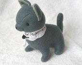 Russian Blue Kitty Cat Felt Doll, Cat Soft Sculpture, Whimsical Cat Felt Plush, Handmade Felt Doll - White Kitty