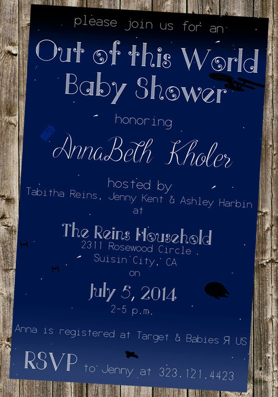 baby shower invitation space star wars doctor who tardis star