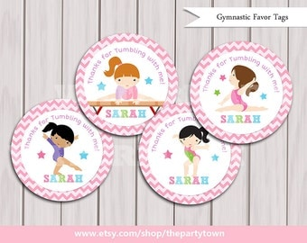 Gymnastic Favor Tags, Gymnastic Birthday Printables, Gymnastic party printable, Printable DIY Girlie