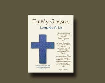 Godson gift - Gift for Godson - Personalized gift for Godson - Gift from Godmother, Gift From Godparents,  Keepsake  - CROSS