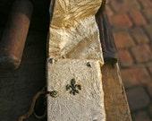 DISCOUNTED - handmade Bookbinding journal renaissance diary fleur de lis larp ivory gold belt magic antiqued sketchbook notebook noblewoman