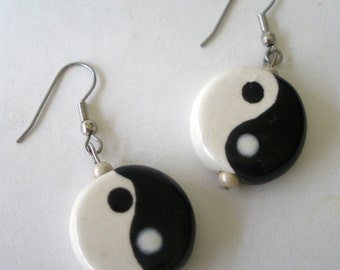 Earrings Yin Yang Ceramic Gloss Dangle Made In America