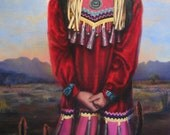SEQUOIA - native american, indian, little girl, mountains, portrait, traditional clothing