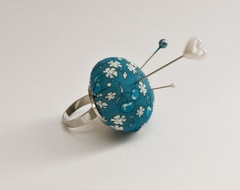 Pincushion Ring - Adjustable Ring Silver Ring Base - Pin Cushion Ring - Japanese Fabric Fruits and Flowers in Teal - Teal Floral Fabirc