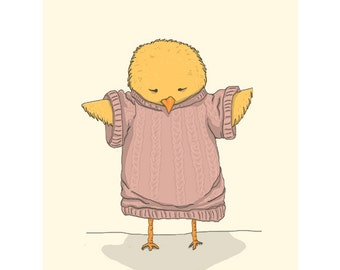 "Chick Nursery Print - Children's Wall Art - 8.5""X11"" Print - Chick in Sweater"