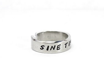 "Sine Timore Ring, Latin Words ""Without Fear"" Ring, Aphorism Ring, Personalized Hand Stamped Aluminum Ring"