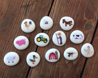 Old Macdonald Story Stones, Children Toys, Story Rocks, Quiet Toys, Story Stone Starter Kit, Farm Story Stones, Animals, Speech Therapy