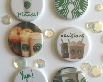 "1"" Starbucks button flair set of 6. Flat backed and flatter profile for Pocket pages / Scrapbooking."