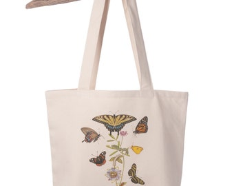 Organic Cotton Canvas Butterfly and Passionflower Totebag