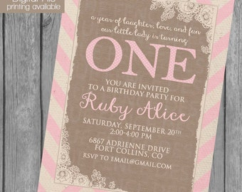 burlap and chevron girl birthday party invitation, first birthday invitation, shabby chic, rustic, barn, country