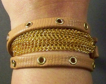 Brown Leather Bracelet with Gold Elements