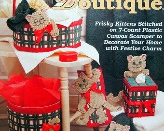 Holiday Kitty Boutique By Teresa Hannaway Vintage Plastic Canvas Pattern Leaflet 1993