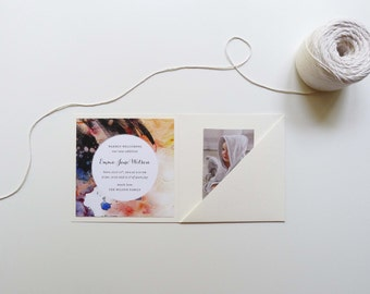 Modern Watercolor Baby Announcement