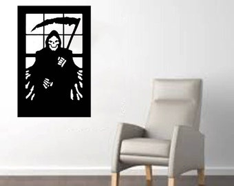 """Scary Grim Reaper in a Window large Halloween Wall Decal  20""""x 30"""""""