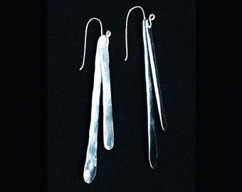 Hammered Aluminum Dangles & Sterling Silver Ear Wires,   Organic Modern Earrings