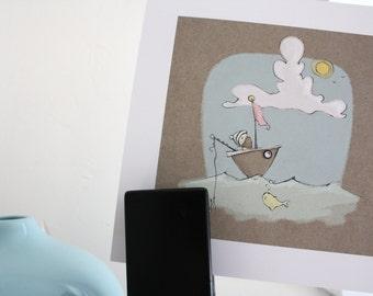 illustration print- children's art- sailor and boat- sunny sailor