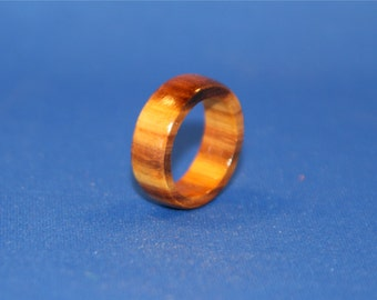 Handcrafted Canary Wood Ring, Size 7.5