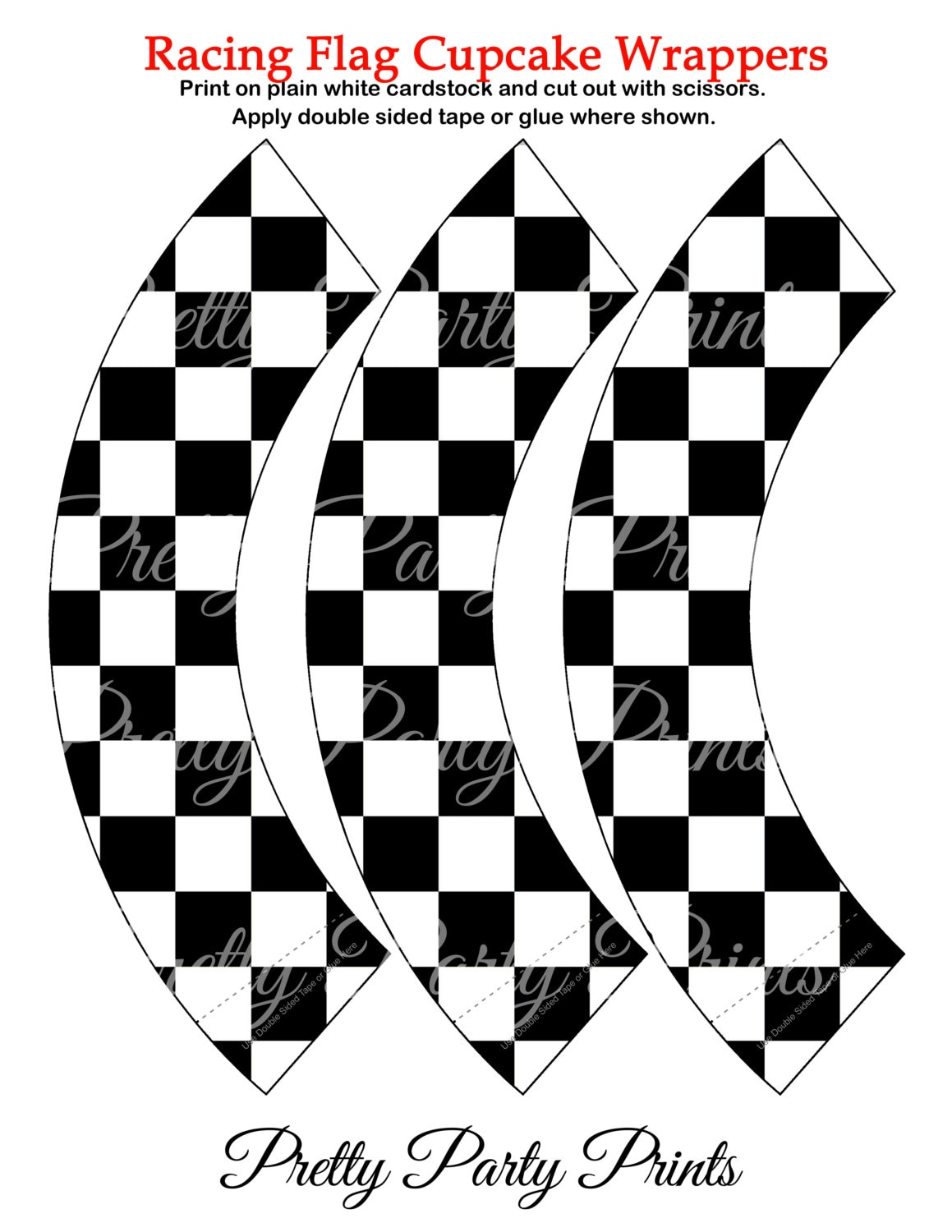 racing flag cupcake wrappers black and white birthday party, Powerpoint templates