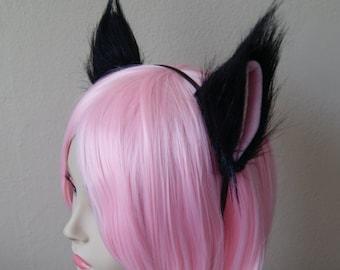 Black Long Fur Cat Ear Fox Ear Set / with Metal Headband (Clip & Band Convertible) Kitty Ears Wolf Ears Ahri Cosplay Anime Neko Costume