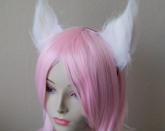 White Long Fur Cat Ear Fox Ear Set / with Metal Headband (Clip & Band Convertible) Kitty Ears Wolf Ears Anime Cosplay Neko Costume