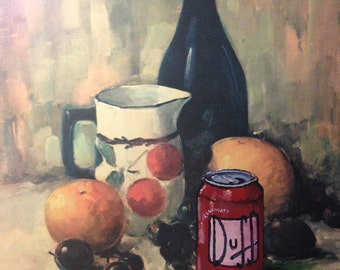 Simpsons Duff Beer Parody, Still Life Painting, 'Bad Habits' - Limited Edition Print or Poster, Funny Simpsons Duff Beer Print Parody Gift