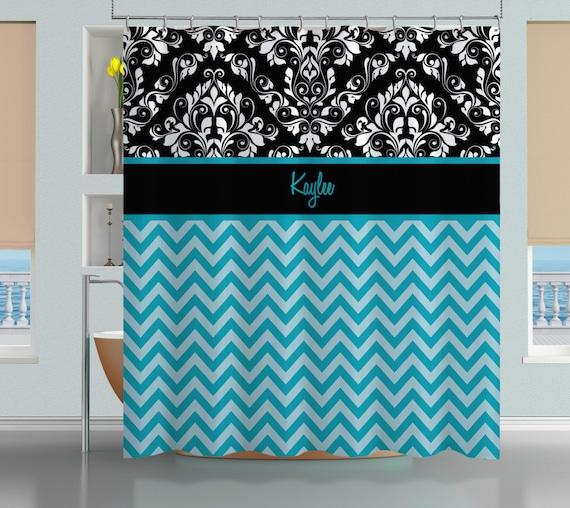 Chevron shower curtain bathroom shower curtains blue shower curtain