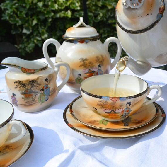 Japanese Fine Eggshell Porcelain Tea Set with Geisha Lithophane Portraits inside the Cups & Hand Painted Geisha Pattern  - Blush -18 pieces