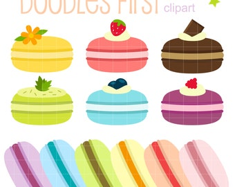 Sweet Macarons Digital Clip Art for Scrapbooking Card Making Cupcake Toppers Paper Crafts