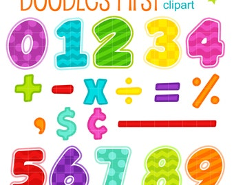 Fun Learning Math in Colorful Numbers Digital Clip Art for Scrapbooking Card Making Cupcake Toppers Paper Crafts