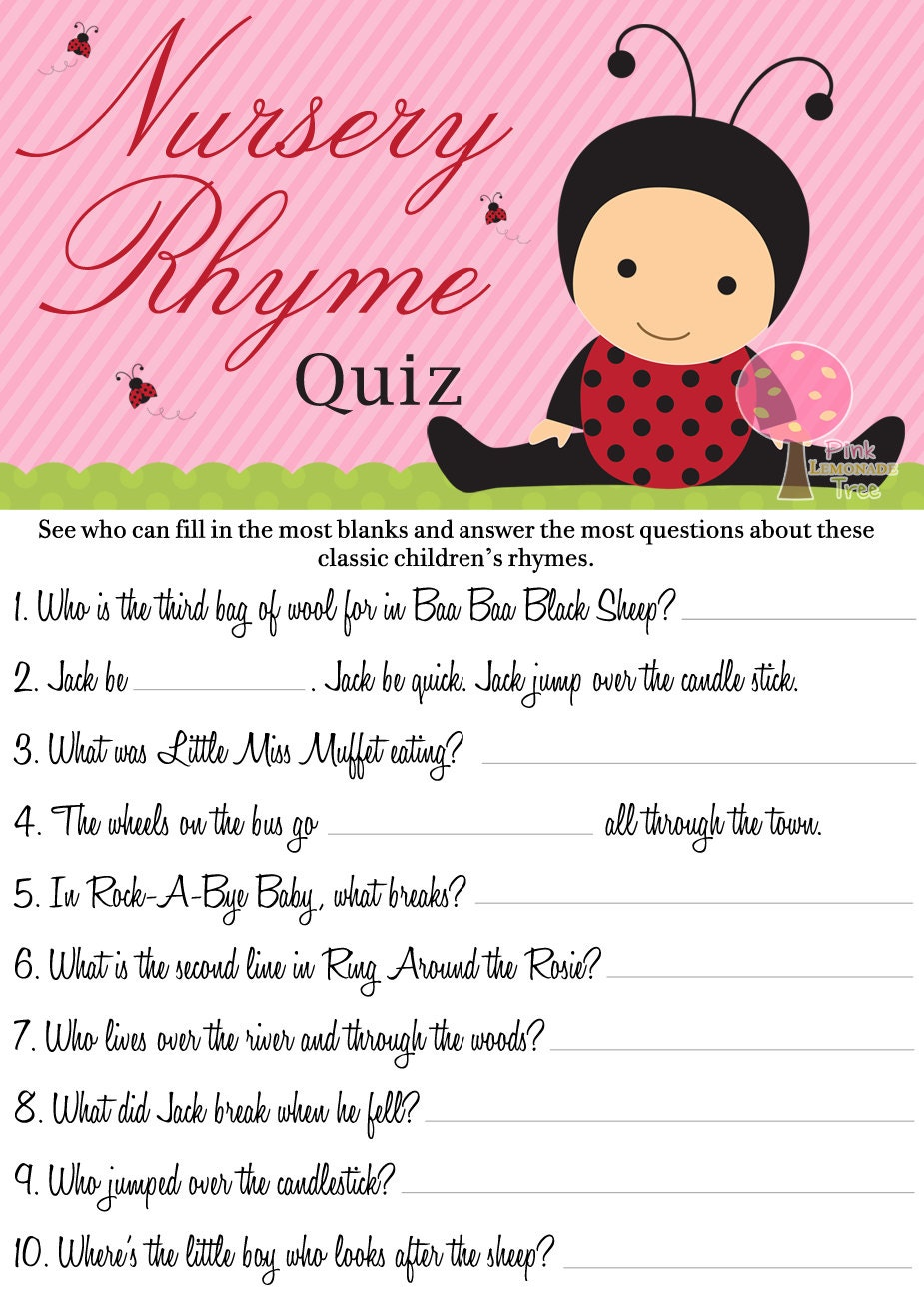 Ladybug Nursery Rhymes Quiz Baby Shower Game Instant