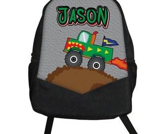 ... Childrens Kids Boys Backpack tote School Camp Monogram Flames Race Car