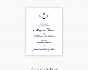 "Anchor Monogram Nautical Save the Date, Anchor Save the Date, Nautical Save the Date Coastal Save the Date ""Anchor Monogram"""