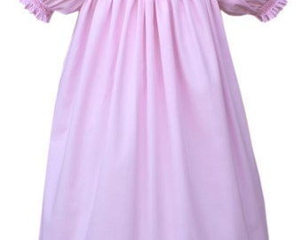 Christmas Snowy Pink Snowman Bishop Dress,This dress has gently smocked short sleeves and is 100% cotton. 17622
