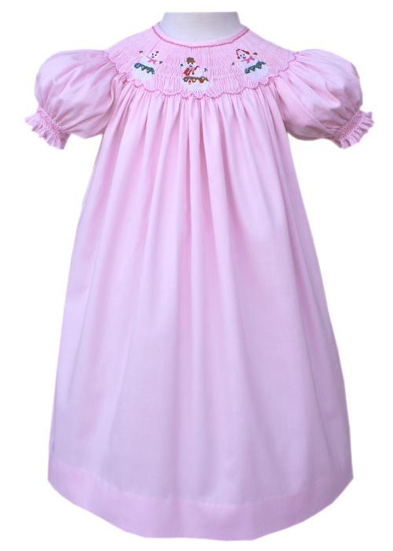 Christmas snowy pink snowman bishop dress this dress has gently