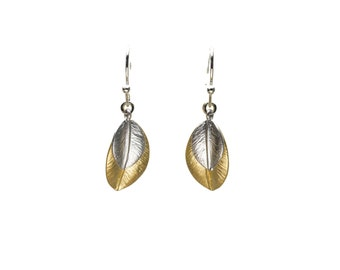 Gold and Silver Leaf Earrings, Dangle Earrings, Wedding Jewelry, Bridesmaid Jewelry, Mother's Day, Graduation Gift