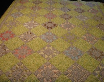 "SALE!!! Stars on Point- ""A Breath of Spring""  Lap Quilt"