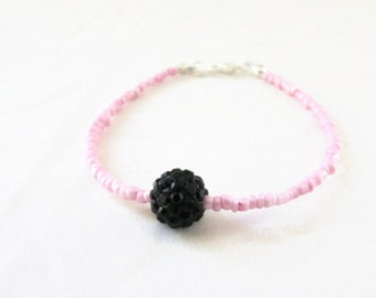 CLEARANCE Pink stacking bracelet, baby pink seed bead bracelet, shamballa bead bracelet, small gift for teen, handmade in the UK