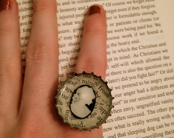 Black and White Cameo Bottle Cap Ring