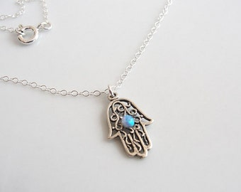 Silver Hamsa necklace, Silver necklace, Silver hand necklace, Delicate silver necklace, Silver hand with turquoise opal, Silver Hand pendant