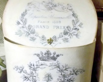 Beautiful Large French Vintage Inspired Hat Box / Paper Mache Box
