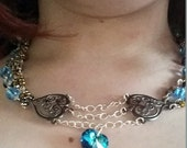 3 Tier Swarovksi Blue Crystal Heart Necklace with Black Filigree Stampings and Beads