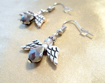 Silver Glass & Metal Guardian Angel Earrings