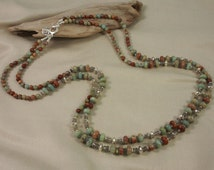 Long Southwestern-inspired double-strand necklace of African Opal Jasper, flashy labradorite & Bali sterling silver