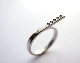Linear Platinum and Black Diamond Ring