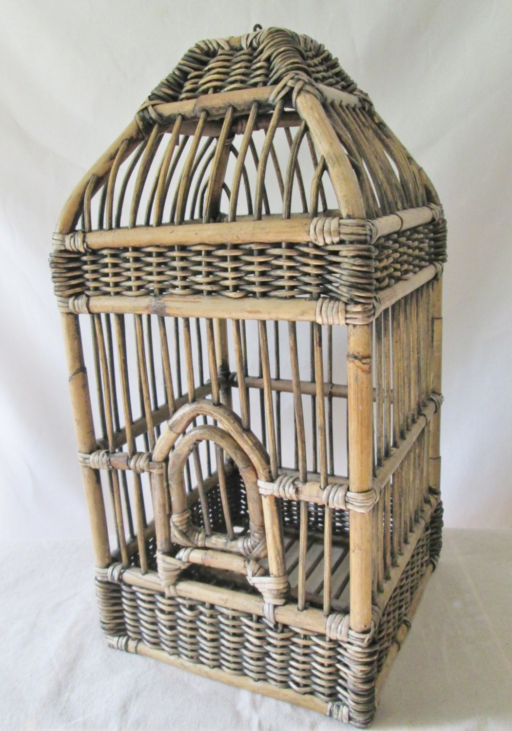 vintage extra large decorative bamboo bird cage by relksreliks. Black Bedroom Furniture Sets. Home Design Ideas