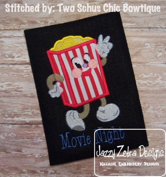 Movie Popcorn Animation Applique and Filled Embroidery Design - popcorn appliqué design - movie appliqué design - 50's appliqué design