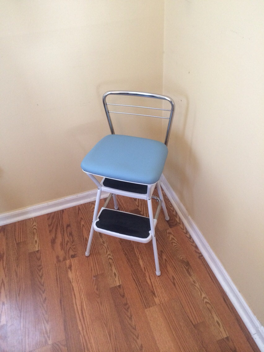 Vintage Cosco Step Stool Chair Light Blue