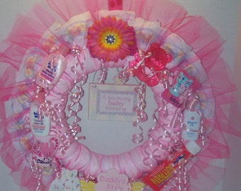 Diaper Wreath Pink Baby Girl's, Adorable Baby Shower or Hospital Decoration,Welcome New Baby Gift !!!