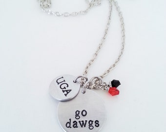 University of Georgia UGA Go Dawgs Hand Stamped Silver College Football Necklace
