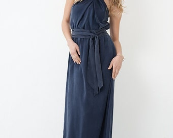 SWOON Silk Halter Maxi Dress